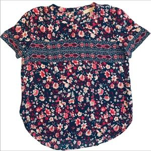 LOFT Floral Print Short Sleeve Blouse